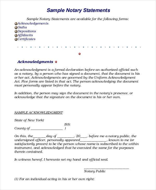 19 Sworn Statement Examples  Samples Sample Templates - sworn statement templates