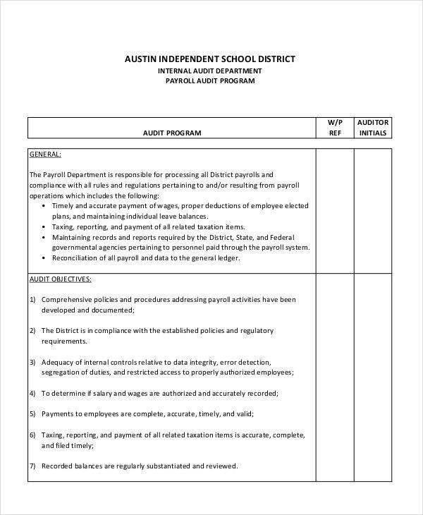 7 Audit Program Samples  Templates Sample Templates - payroll auditor sample resume
