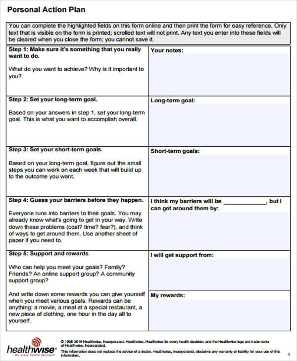 8 Personal Plan Samples  Templates Sample Templates - personal action plan template