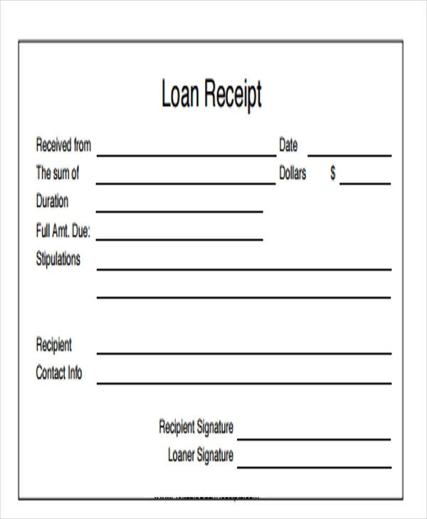 8 loan receipt templates free samples examples formats download loan receipt templates