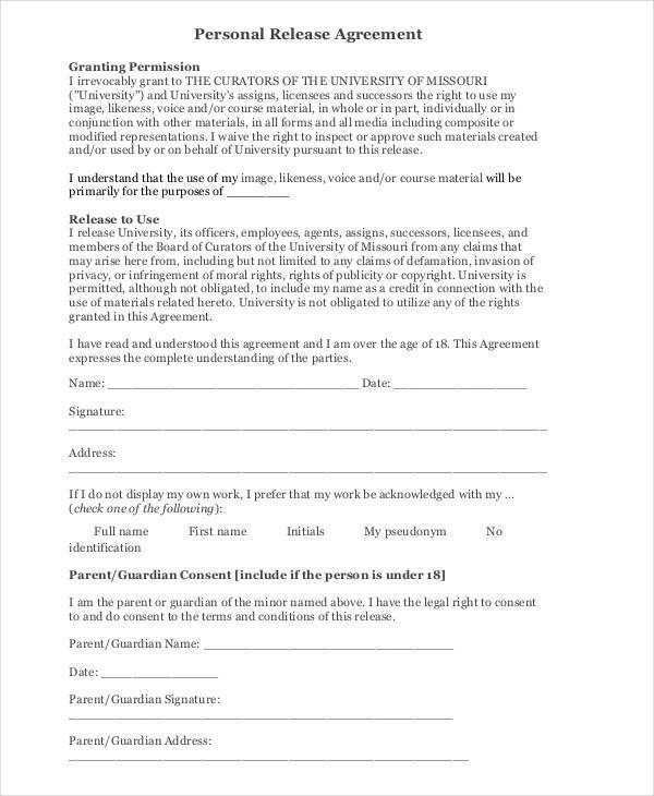 6+ Release Agreement \u2013 Examples in Word, PDF Sample Templates