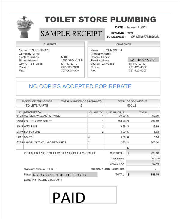 5+ Plumbing Invoice \u2013 Examples in Word, PDF Sample Templates