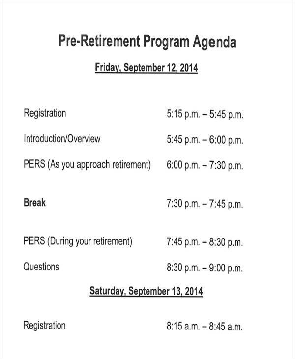 retirement dinner program template