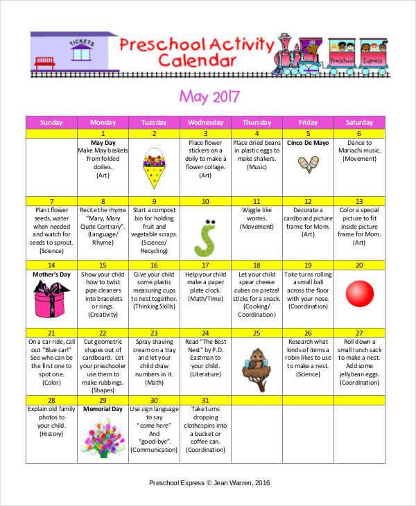 Sample Activity Calendar Template free work schedule templates - preschool calendar template