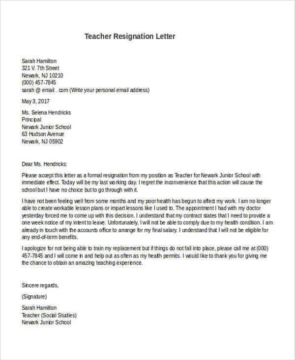 31 Formal Resignation Letters - teacher resignation letter