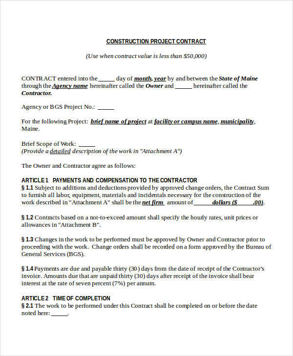 50 Basic Contract Templates - project contract templates