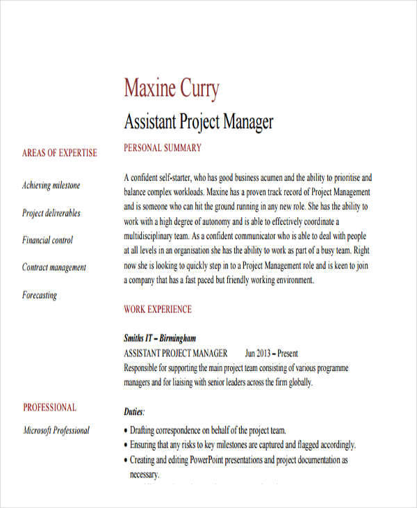 43+ Manager Resume Samples in PDF Sample Templates - assistant project manager resume