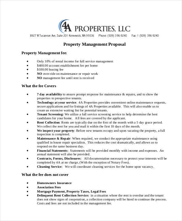 7+ Management Proposal Samples  Templates in PDF - property management proposal template