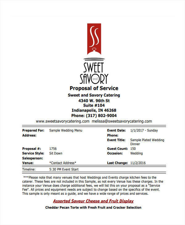 6+ Catering Proposal Template - Examples in Word, PDF - sample catering proposal template