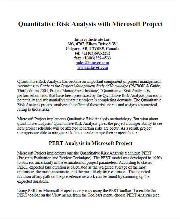 Sample Quantitative Risk Analysis kicksneakers - sample quantitative risk analysis