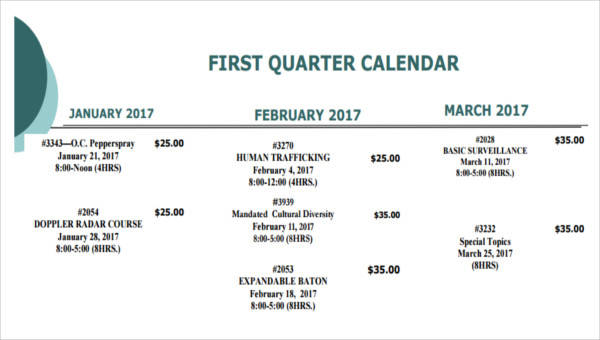 10+ Quarterly Calendar Template - Free Sample, Example, Format Download