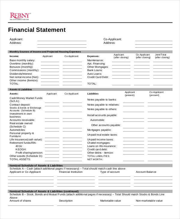 financial statements format templates