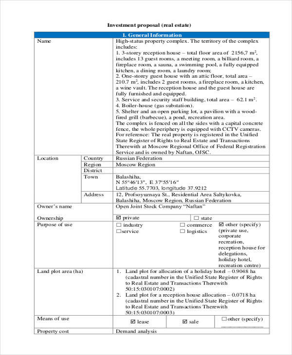 13+ Investment Proposal Samples  Templates in PDF, Word