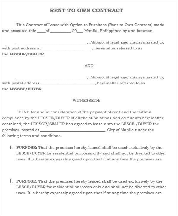 4+ Rent-to-Own House Contract - Free Sample, Example, Format Download - rent to own home contract