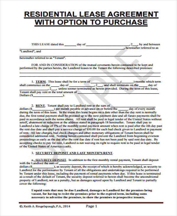 Lease Agreement Forms Documents And PdfsRent To Own House - sample commercial lease agreement