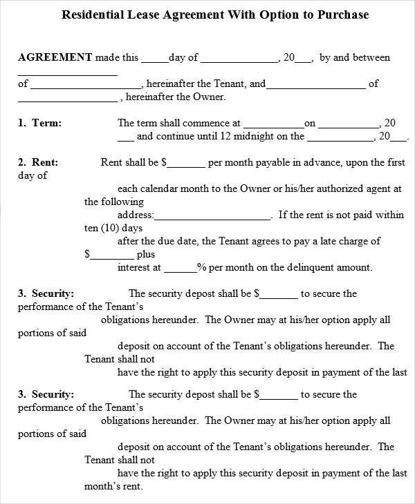 6+ Rent-to-Own House Contract Forms \u2013 Examples in Word, PDF Sample