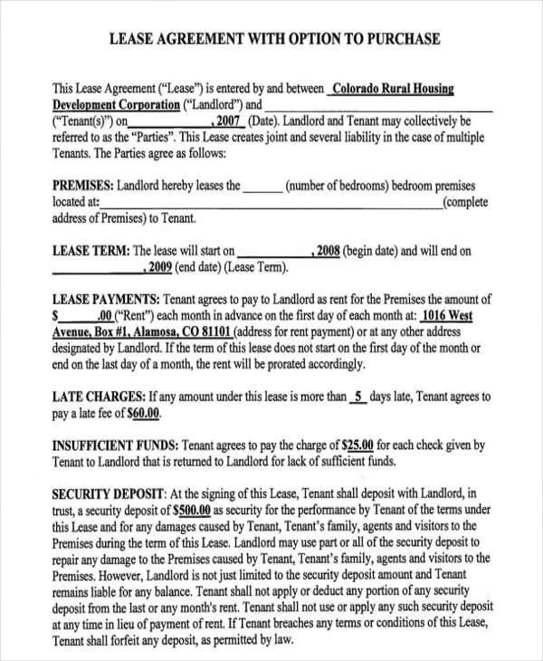 8+ Rent-to-Own Home Contract Samples  Templates - PDF, Word, Google