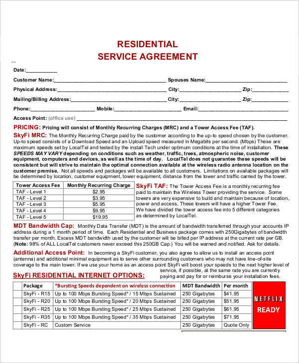 41+ Free Contract Templates Sample Templates - residential service contracts