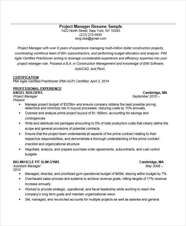 experienced resumes