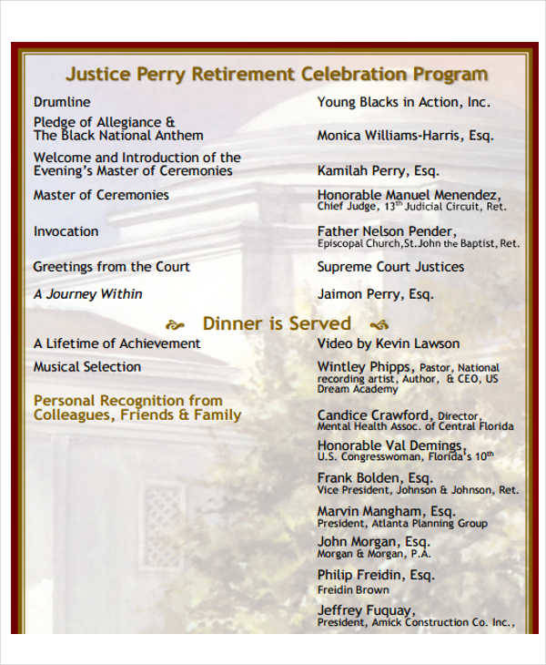 sample retirement party programs