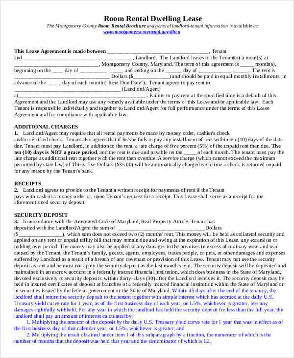 7+ Room for Rent Contracts Samples  Templates - PDF, DOC