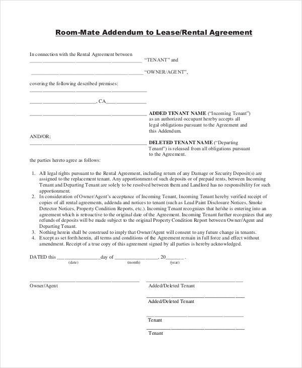 9 Room for Rent Contracts - Free Documents in Word, PDF - roommate rental agreement