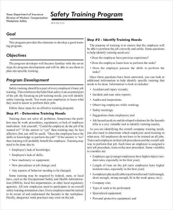 7+ Safety Program \u2013 Examples in Word, PDF Sample Templates - sample safety program