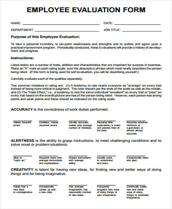 17 Employee Evaluation Forms Sample Templates - employee evaluation form in pdf