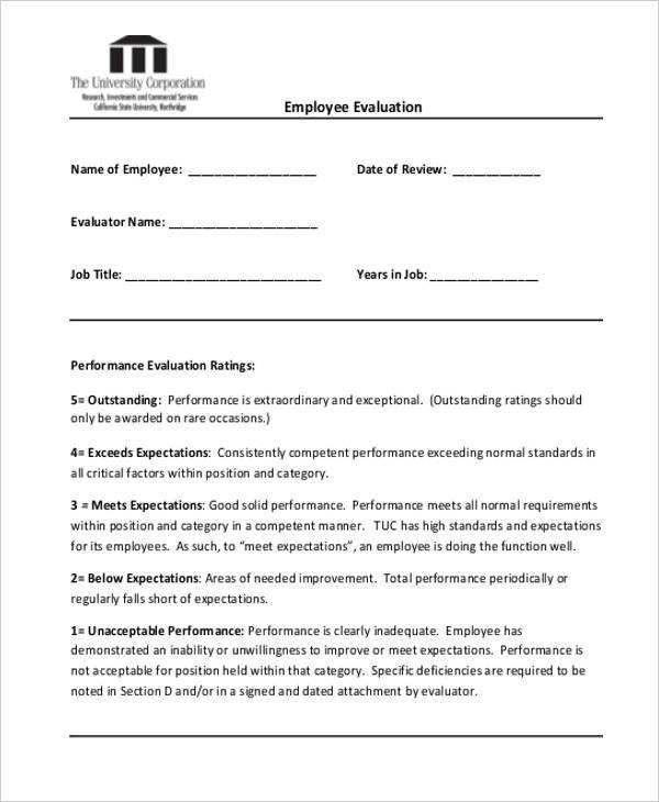 20 Employee Evaluation Form Samples  Templates Sample Templates - standard performance review form