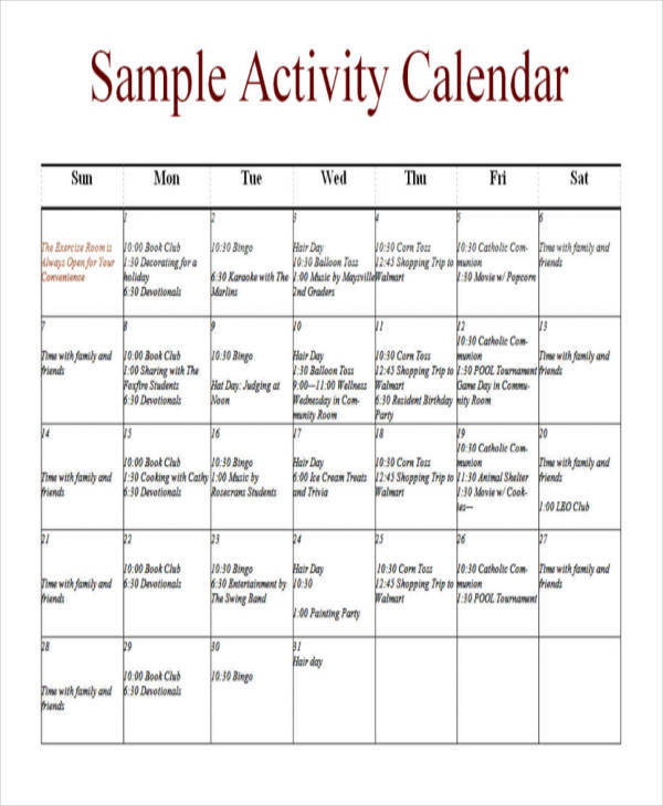 nursing home activity calendar template - Basilosaur