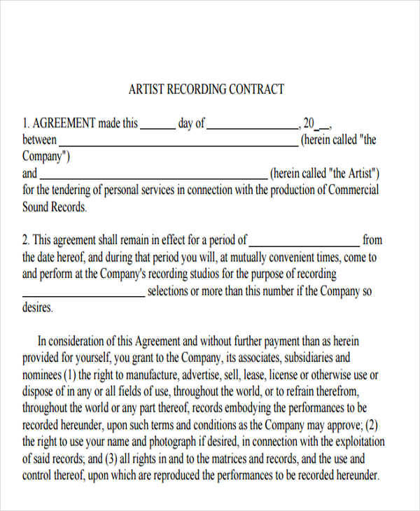Recording Contract Template Music Artist Management Contract Pdf - sample artist contract template