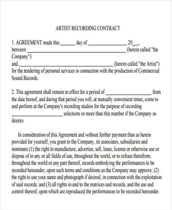 8 Artist Contract Templates - Free Sample, Example, Format Download - production contract agreement