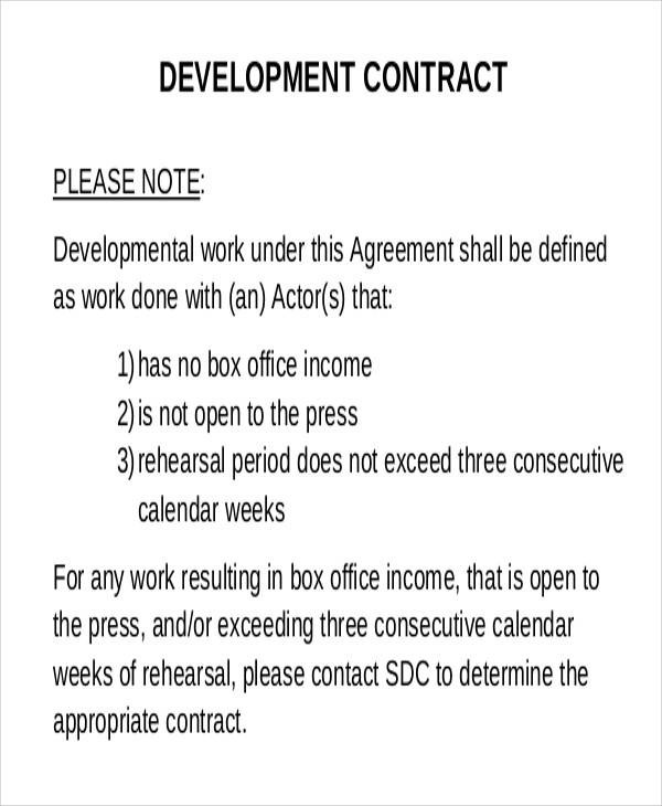 free development contract contract templates 6 development - development contract templates