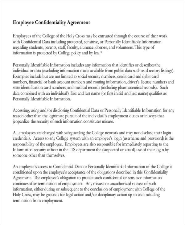 10 Employee Confidentiality Agreements - Free Sample, Example - sample employee confidentiality agreement