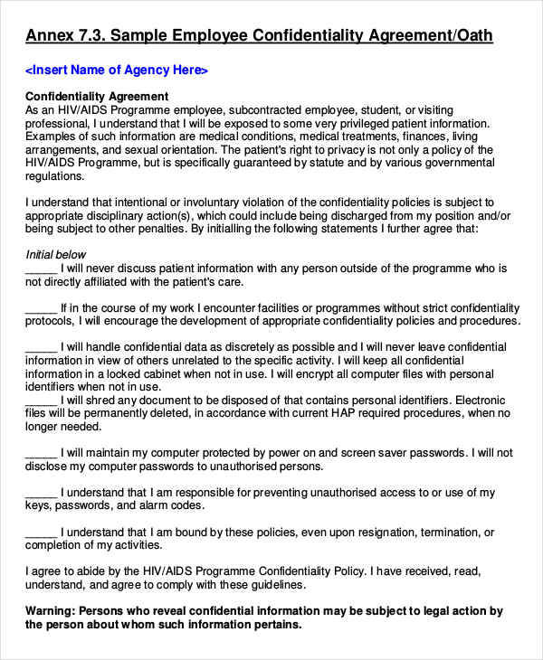 employee confidentiality agreement sample - Intoanysearch