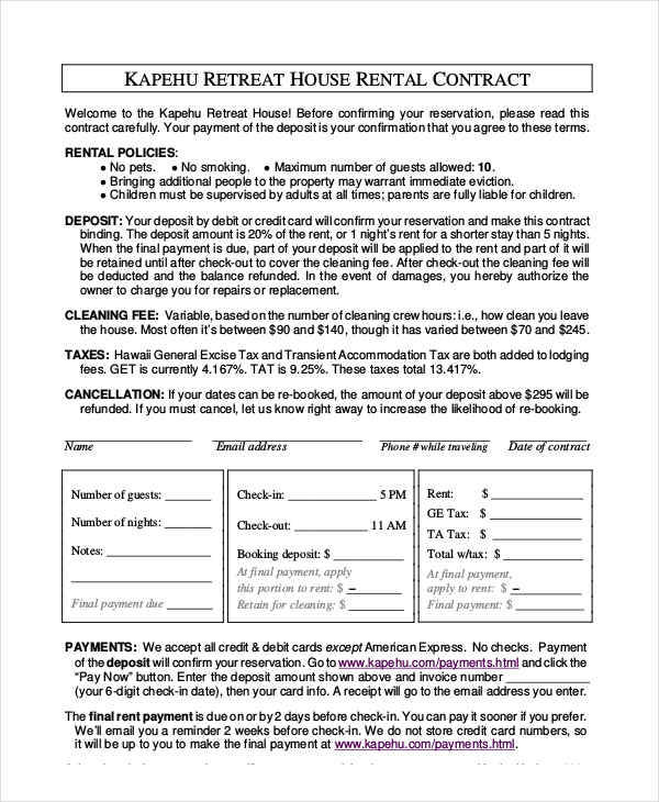 4+ House Rent Contract Samples  Templates - PDF, DOC