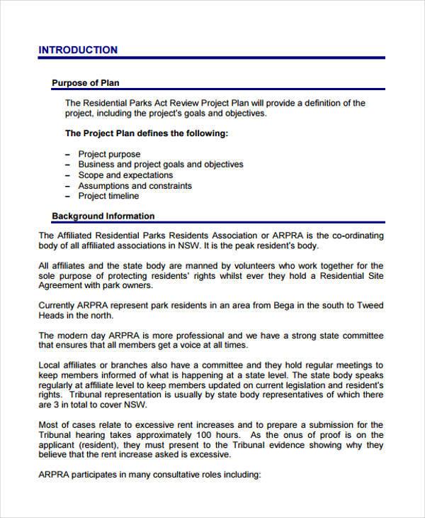 5+ Project Plan Samples  Templates - PDF, DOC