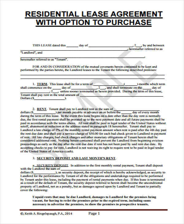 Best Rent To Own Document Free Download Photos - Resume Samples - rent to own home contract