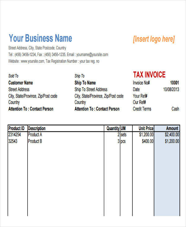 8+ Sales Invoice - Free Sample, Example, Format Download