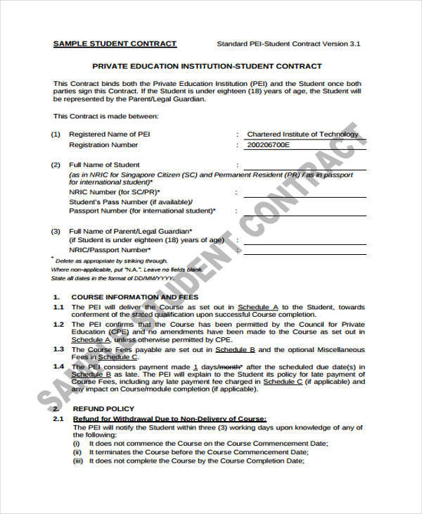 11 Student Contract Samples  Templates Sample Templates - Student Contract Templates