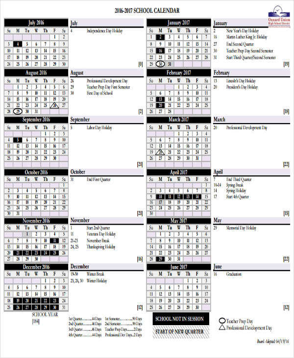 Awesome Elementary Calendar Template Component - Examples - sample academic calendar