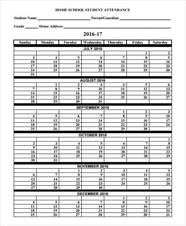 employee attendance calendar tracker templates 2016 sample - attendance calendar template