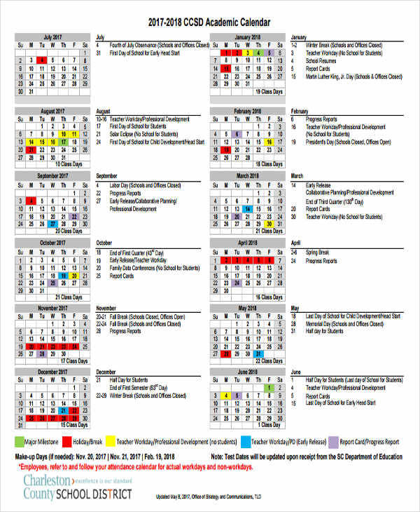 6+ School Calendar Templates \u2013 Examples in Word, PDF Sample Templates