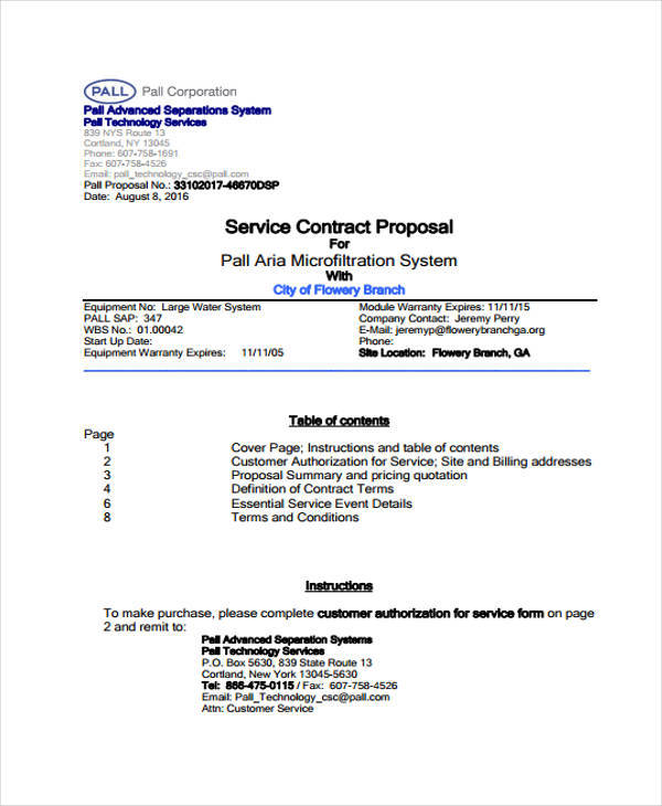 7+ Proposal Contract Template \u2013 Free Sample, Example, Format - 5630 template