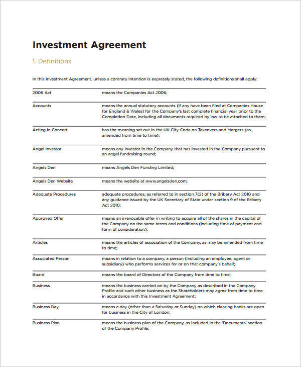 small business investment contract template