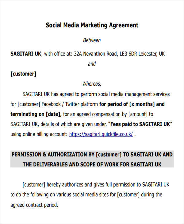 Social Media Management Agreement Template - mandegarinfo - management contract template