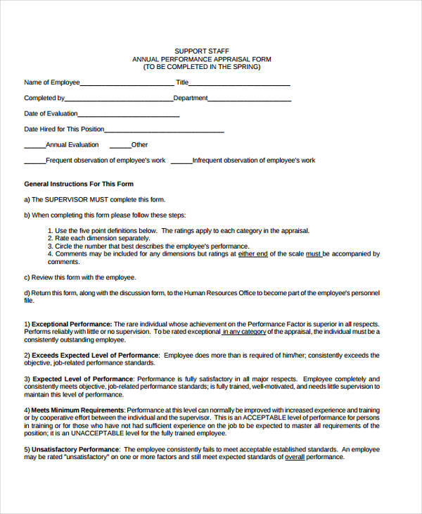 29+ Appraisal Form Examples Sample Templates - standard performance review form
