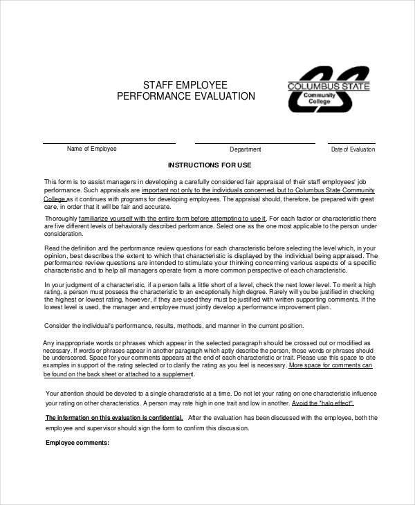 Employee Evaluation Form Uses employee evaluation form in pdf - sample employee evaluation form