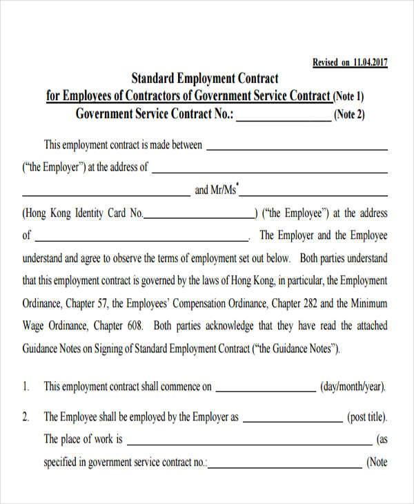 Standard Employment Agreement  NodeCvresumePaasproviderCom