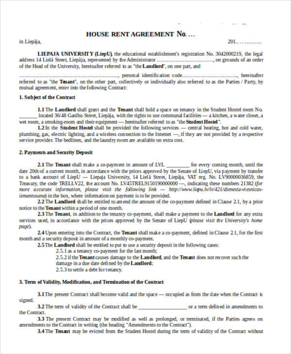 6 House Rent Contract Samples  Templates Sample Templates - house rental contract